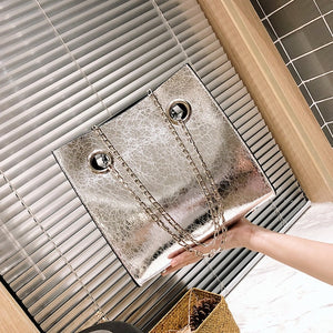 Chain Shoulder Messenger Bag PU Leather Rivet Large Capacity Bags