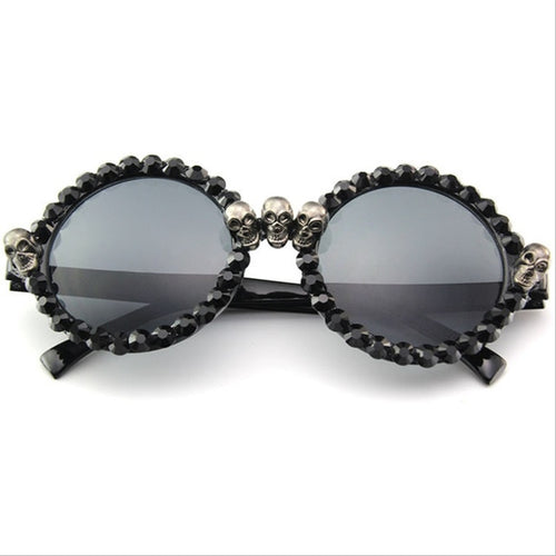 Cat Eye Women Skull Black  Round Sun Glasses