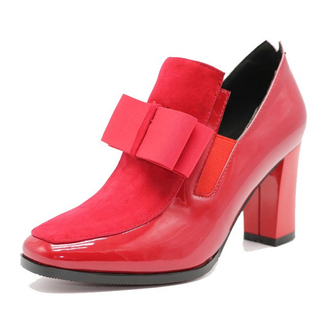 Woman's High Heel Shoes bowknot Genuine Real Leather square heel Pumps