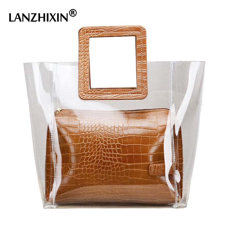 Top-handle Bags For Women Large Clear Tote Bags for Women Handbags Women Bags Designer Transparent Composite Hand Bags