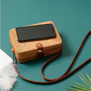 Women Summer Rattan Bags Round Square Straw Bag Handmade Woven Beach Crossbody Bags Circle Bohemia Bali Handbags