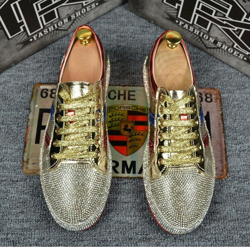 Mens Rhinestone Bling Shiny PU Leather Lace Up Fashion Sneakers Board Shoes Gold Sliver