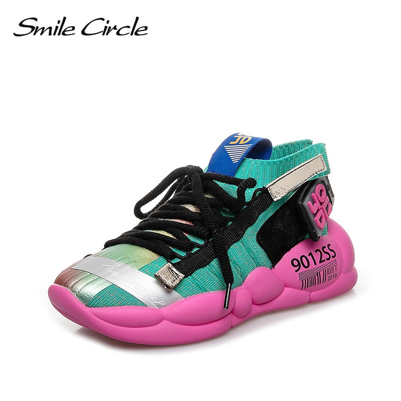 Women flat platform shoes 2019 spring Summer Fashion street sneakers