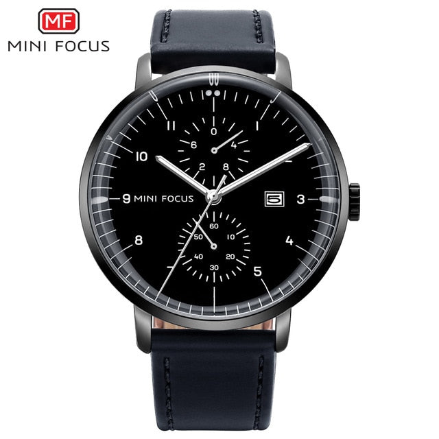 Mens Watches Top Brand Luxury Quartz Watch  Calendar Bussiness Leather watch