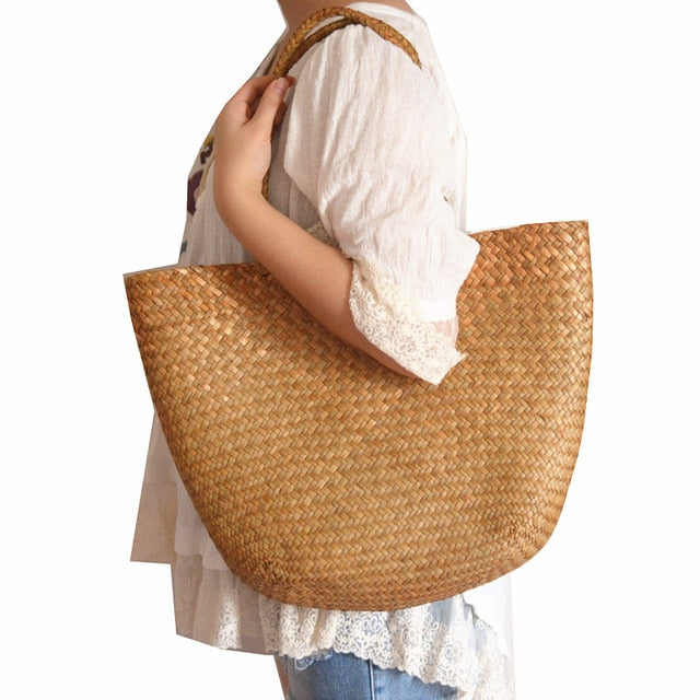 Casual straw bag tote natural wicker handbag
