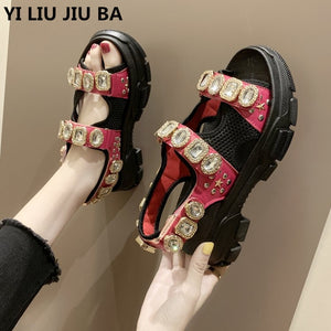 Summer Rhinestone Women Sandals shoes Non-slip Ladies Walking Beach Shoes