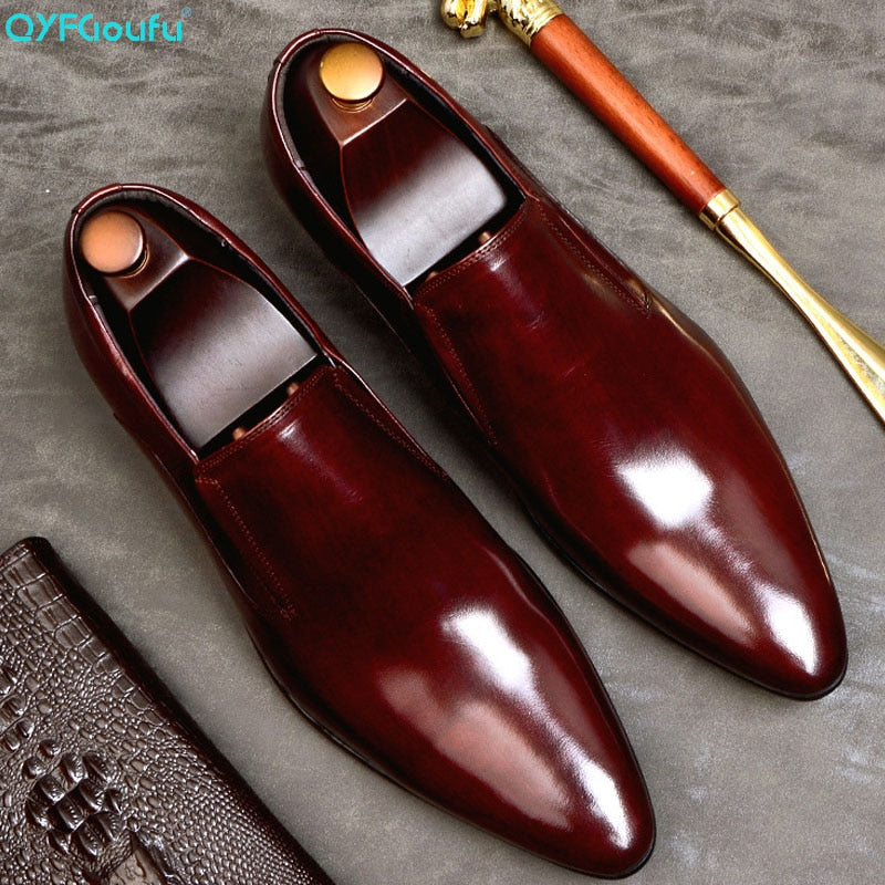 Fashion Men's Dress Shoes Genuine Leather Slip On Classic Pointed Toe Office Work Wedding Party Formal Shoes