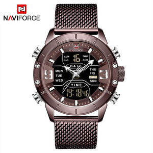 New Top Luxury Brand Stainless Steel Sports Men Watch Army Military Dual Display Waterproof Watches