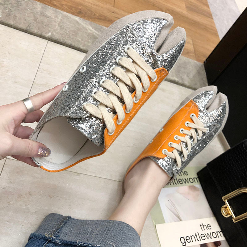 sequins canvas summer women shoes cross-tie mules mixed color slippers silver bling