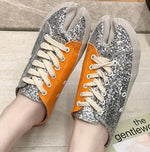 Load image into Gallery viewer, sequins canvas summer women shoes cross-tie mules mixed color slippers silver bling
