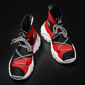 Men Women Running Shoes High Top Mesh Lace up Fashion Breathable Sport Shoes