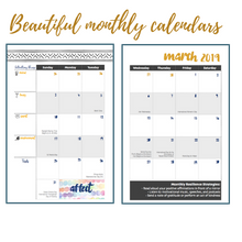 "Load image into Gallery viewer, ""Stay Resilient 2019: A Weekly & Monthly Resilience Planner"" by dr. Saby Labor"
