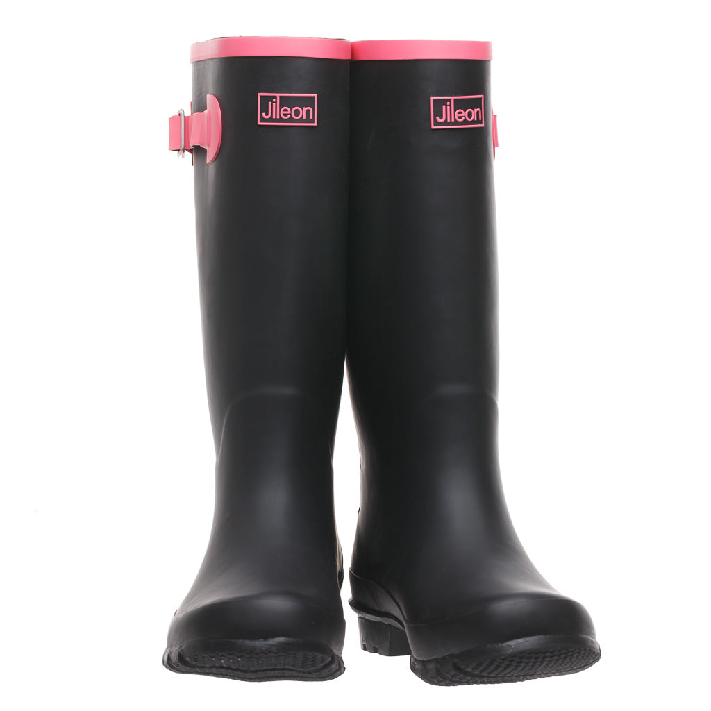 Wide Calf Wellies - Black with Hot Pink Trim by Jileon