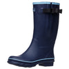 Extra Wide Calf Wellies - Navy with Sky Blue Trim - Regular Fit in Foot and Ankle