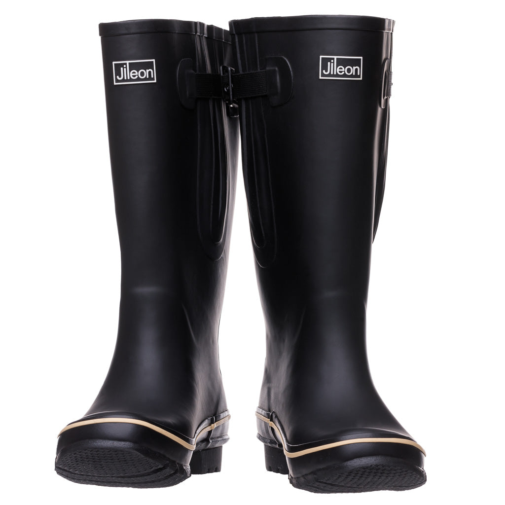 Extra Wide Calf Black Wellies by Jileon