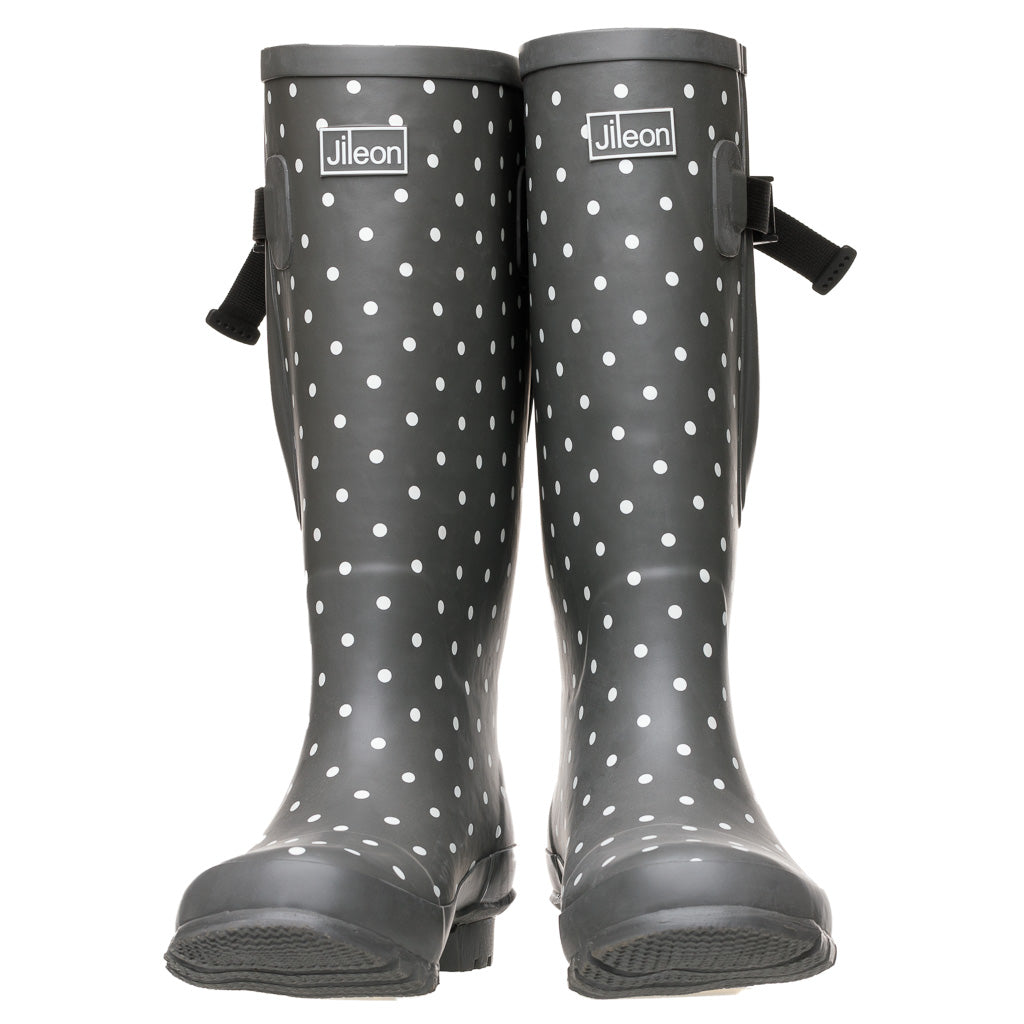 Extra Wide Calf Grey Spotty Wellies with Rear Gusset by Jileon