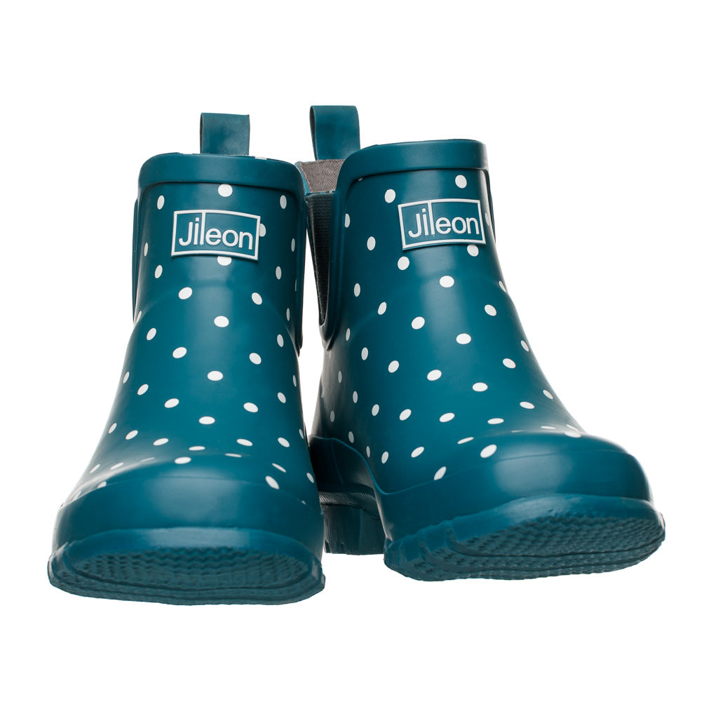 Ankle Wellies - Teal with White Spots - Wide Foot by Jileon