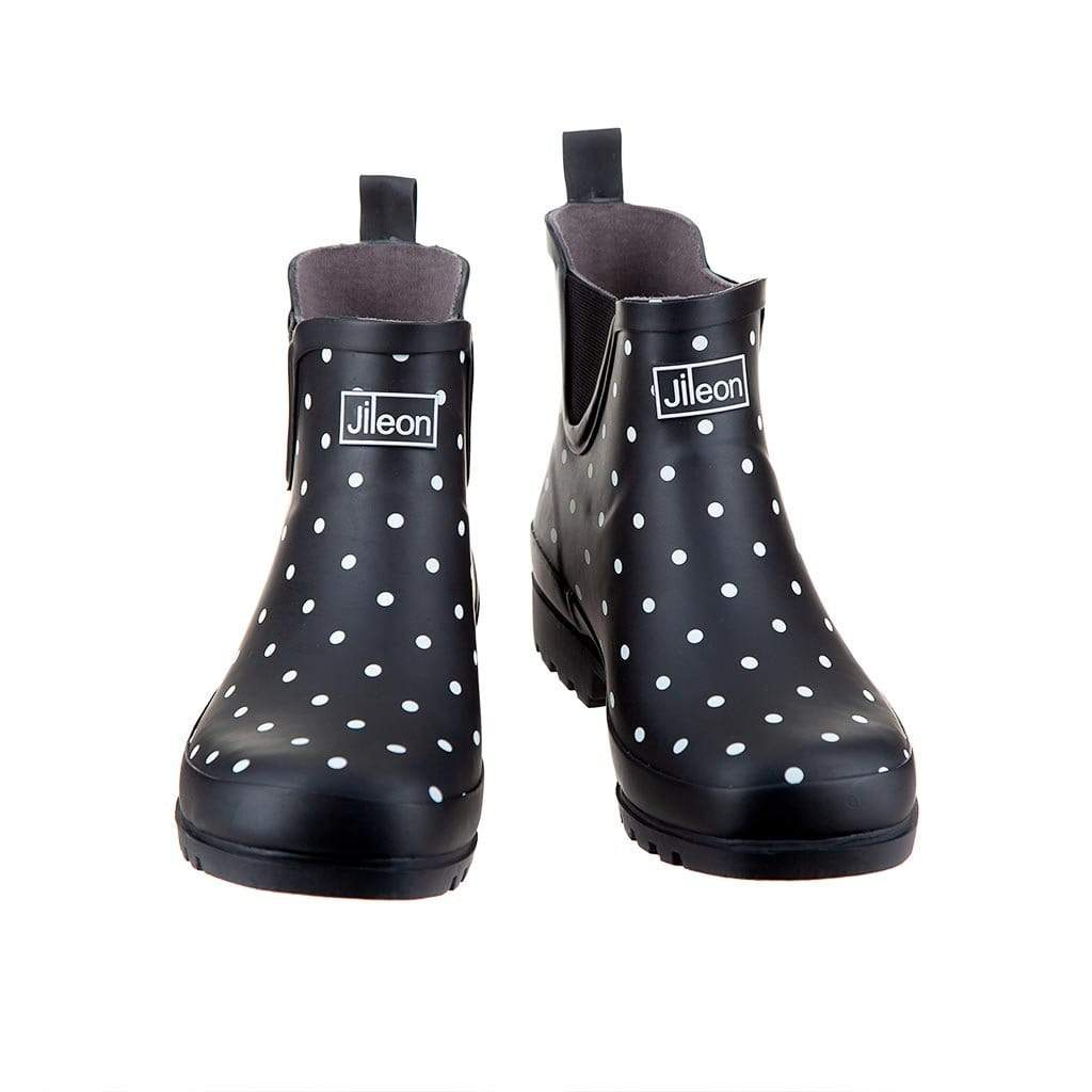 Ankle Wellies -Black and White Spot - Wide Foot by Jileon - Wide Calf Wellies for Women