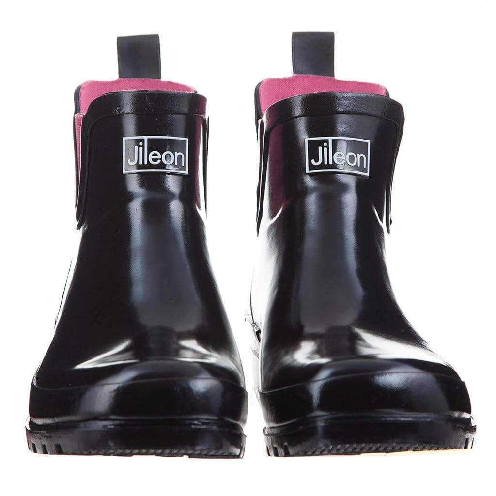 Ankle Wellies - Black Glossy - Wide Foot by Jileon - Wide Calf Wellies for Women