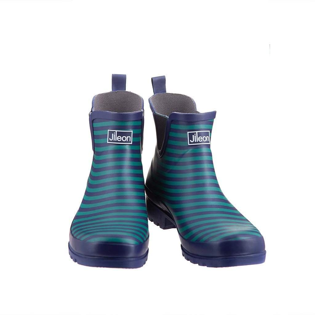 Ankle Wellies - Blue Stripe - Wide Foot by Jileon - Wide Calf Wellies for Women