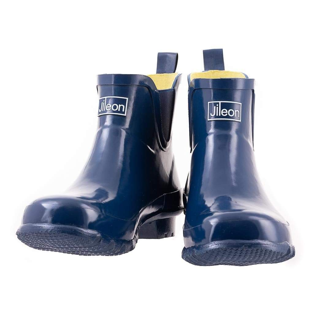 Ankle Wellies - Navy Gloss - Wide Foot by Jileon - Wide Calf Wellies for Women