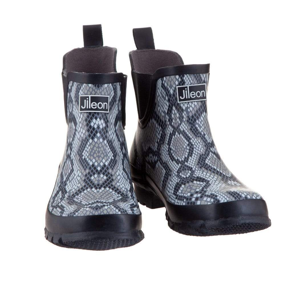 Ankle Wellies - Snakeskin Print - Wide Foot by Jileon - Wide Calf Wellies for Women