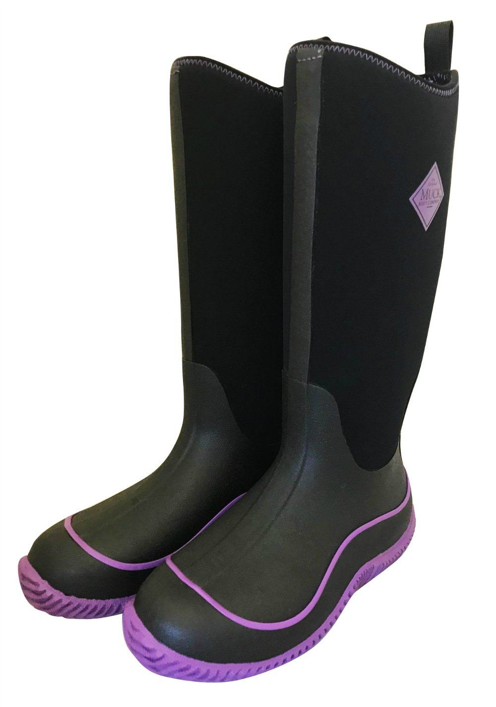 Black and Purple Neoprene Hale by Muck Boots - Wide Calf Wellies for Women