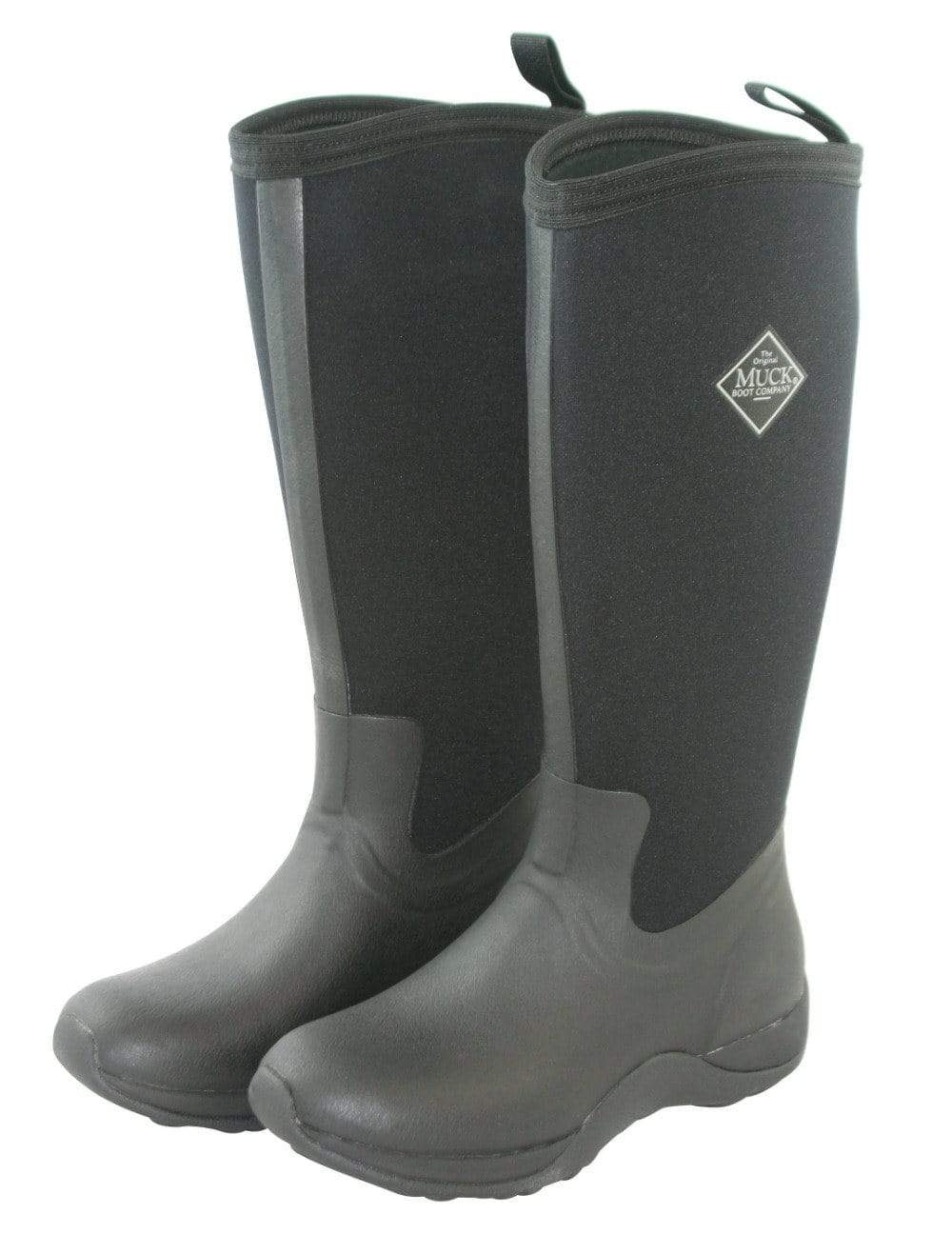 Black Neoprene Arctic Adventure Waterproof Boots by Muck Boot - Wide Calf Wellies for Women