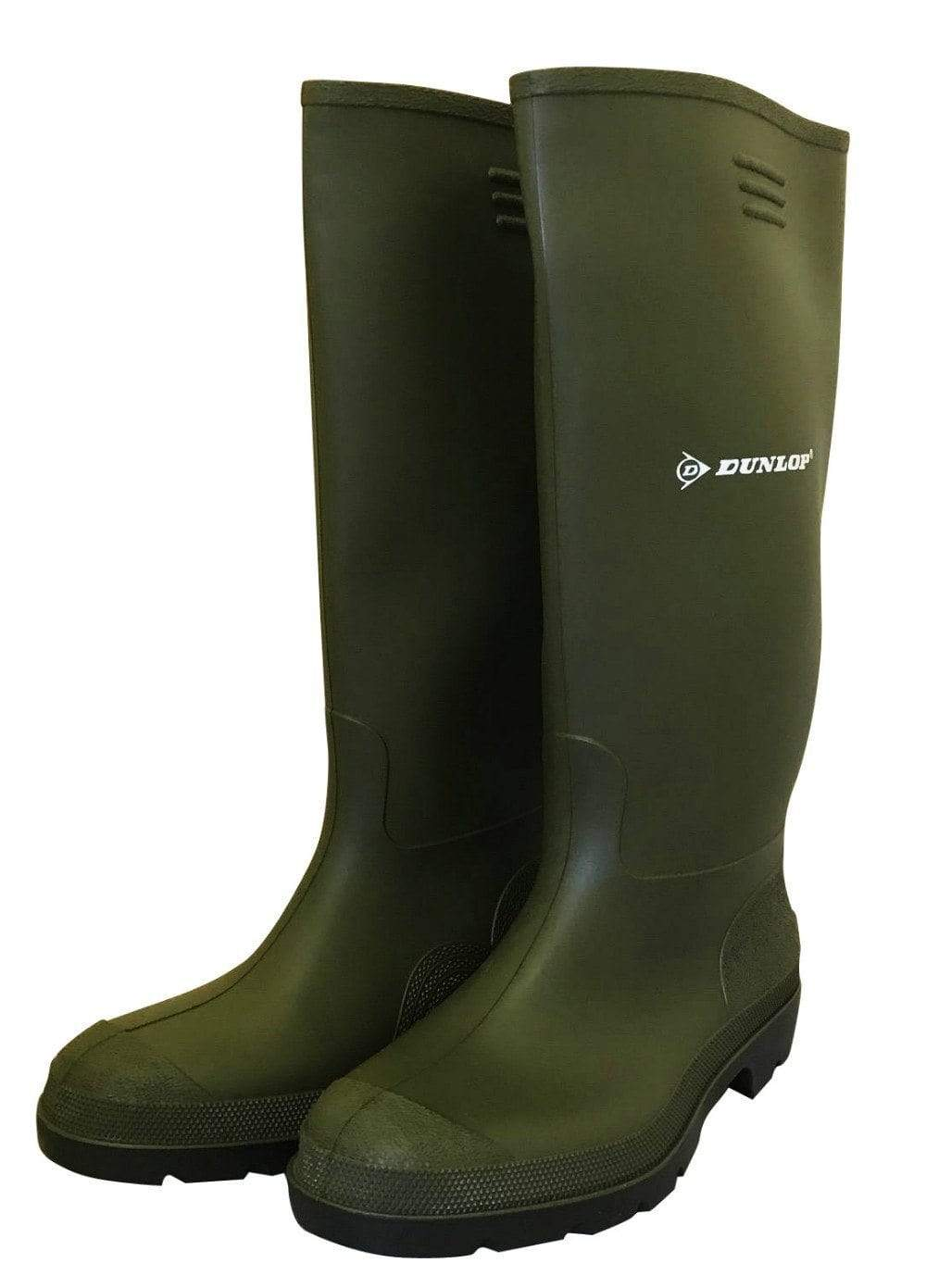 Budget Master Green Wellies by Dunlop - Wide Calf Wellies for Women