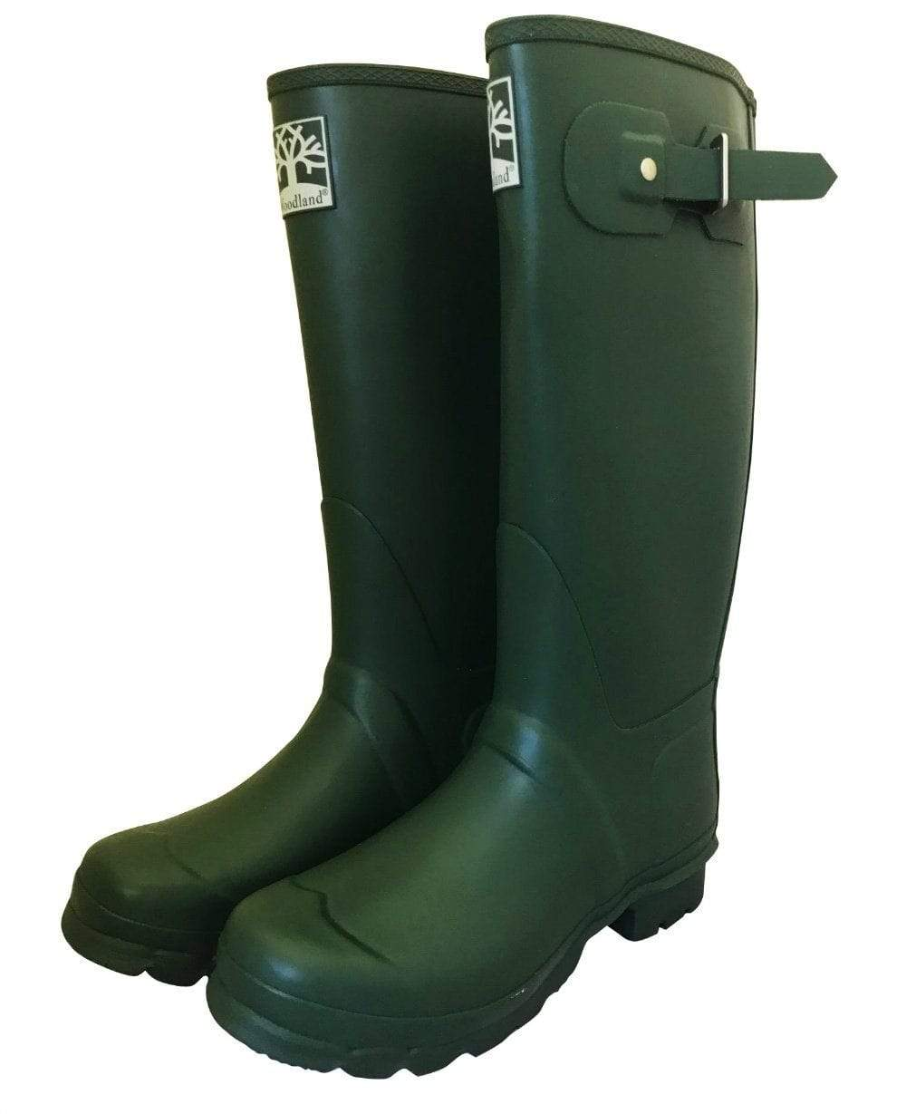 Durable Green Country Wellies by Woodlands - Wide Calf Wellies for Women