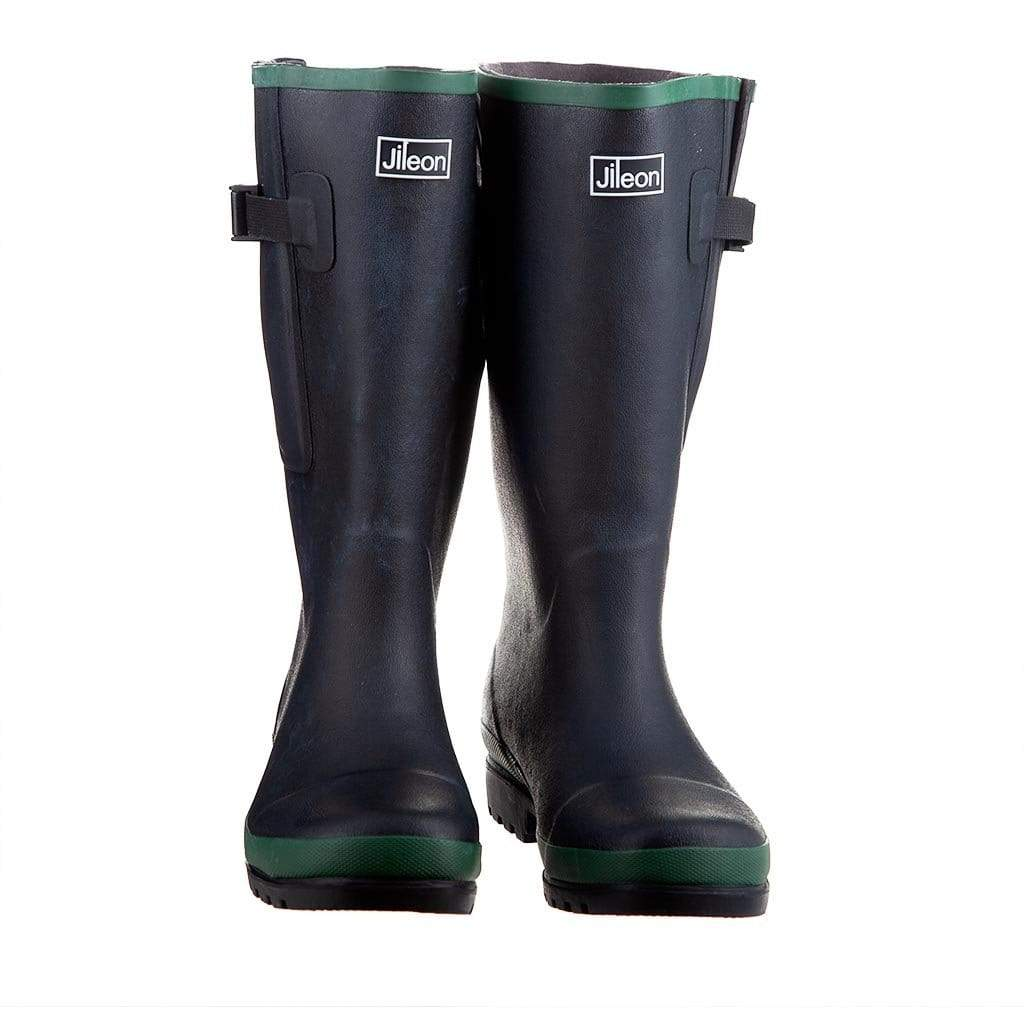 Extra Wide Calf Black Wellies with Rear Gusset by Jileon - Wide Calf Wellies for Women