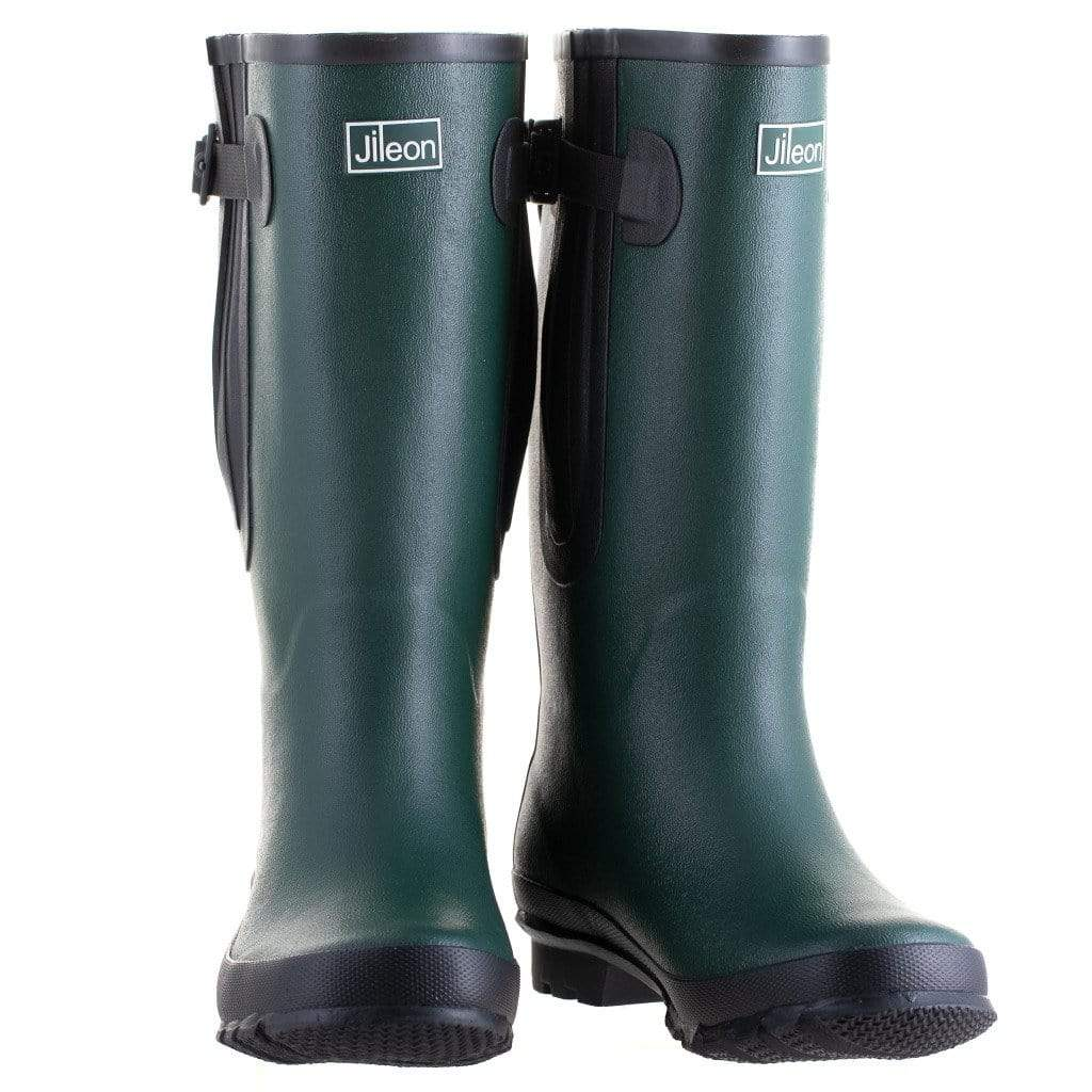 Extra Wide Calf Green Wellies by Jileon - Wide Calf Wellies for Women