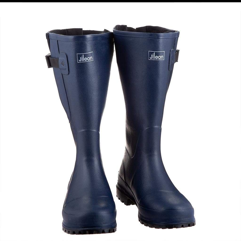 Extra Wide Calf Hard Wearing Navy Blue Wellies by Jileon - Wide Calf Wellies for Women