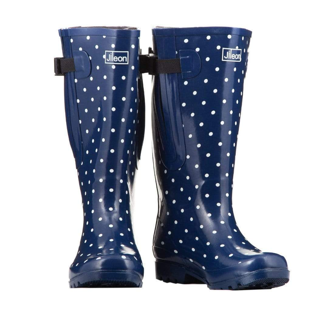 Extra Wide Calf Navy Blue with White Spots Wellies by Jileon - Wide Calf Wellies for Women