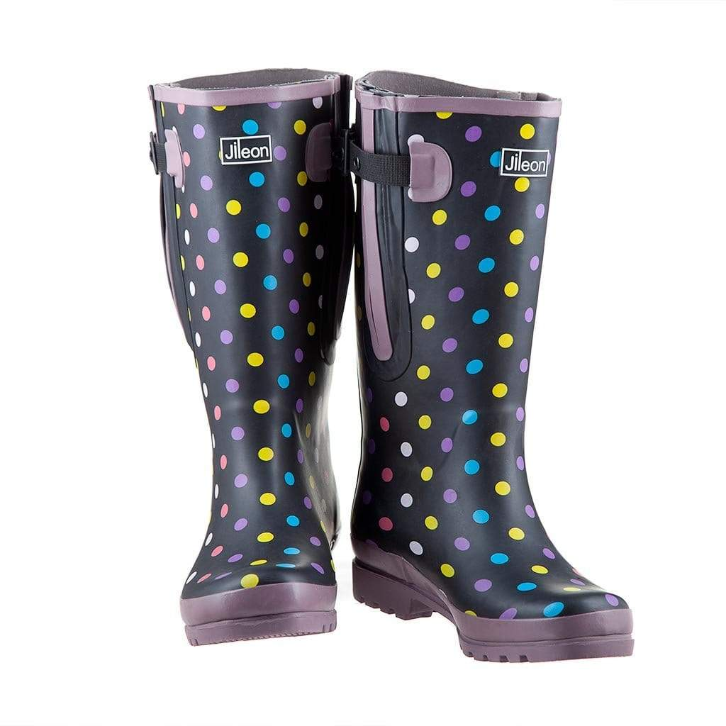 Extra Wide Calf Polka Dot Wellies by Jileon - Wide Calf Wellies for Women