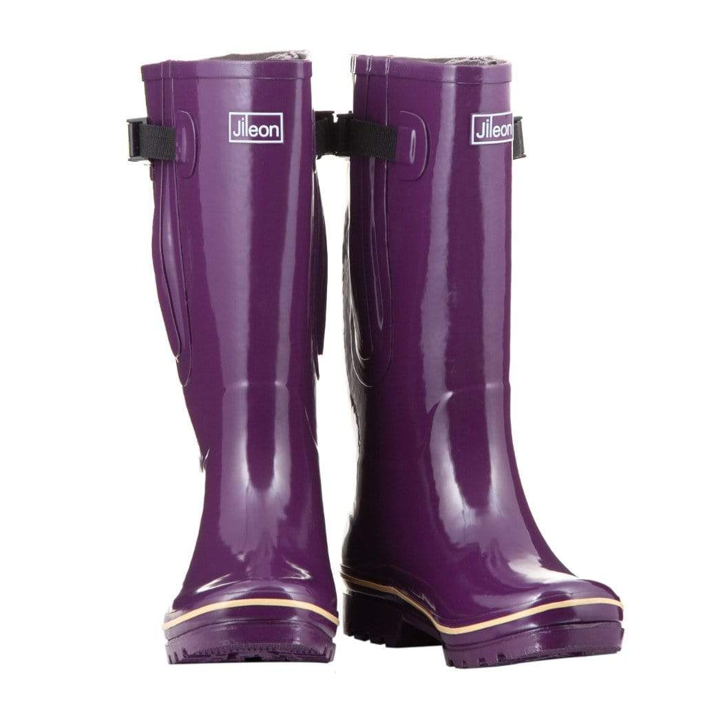Extra Wide Calf Purple Wellies by Jileon - Wide Calf Wellies for Women