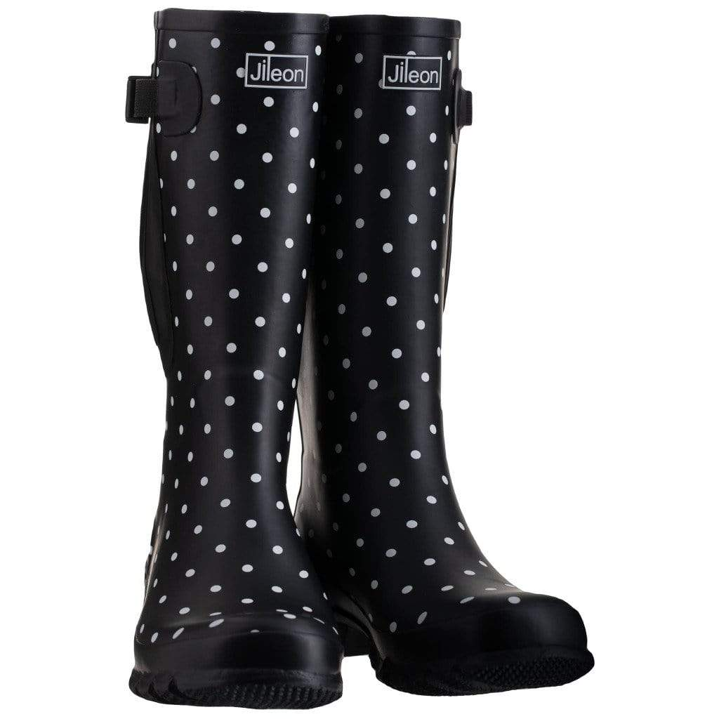 Extra Wide Calf Wellies - Black Spot by Jileon - Regular Fit in Foot and Ankle - Wide Calf Wellies for Women