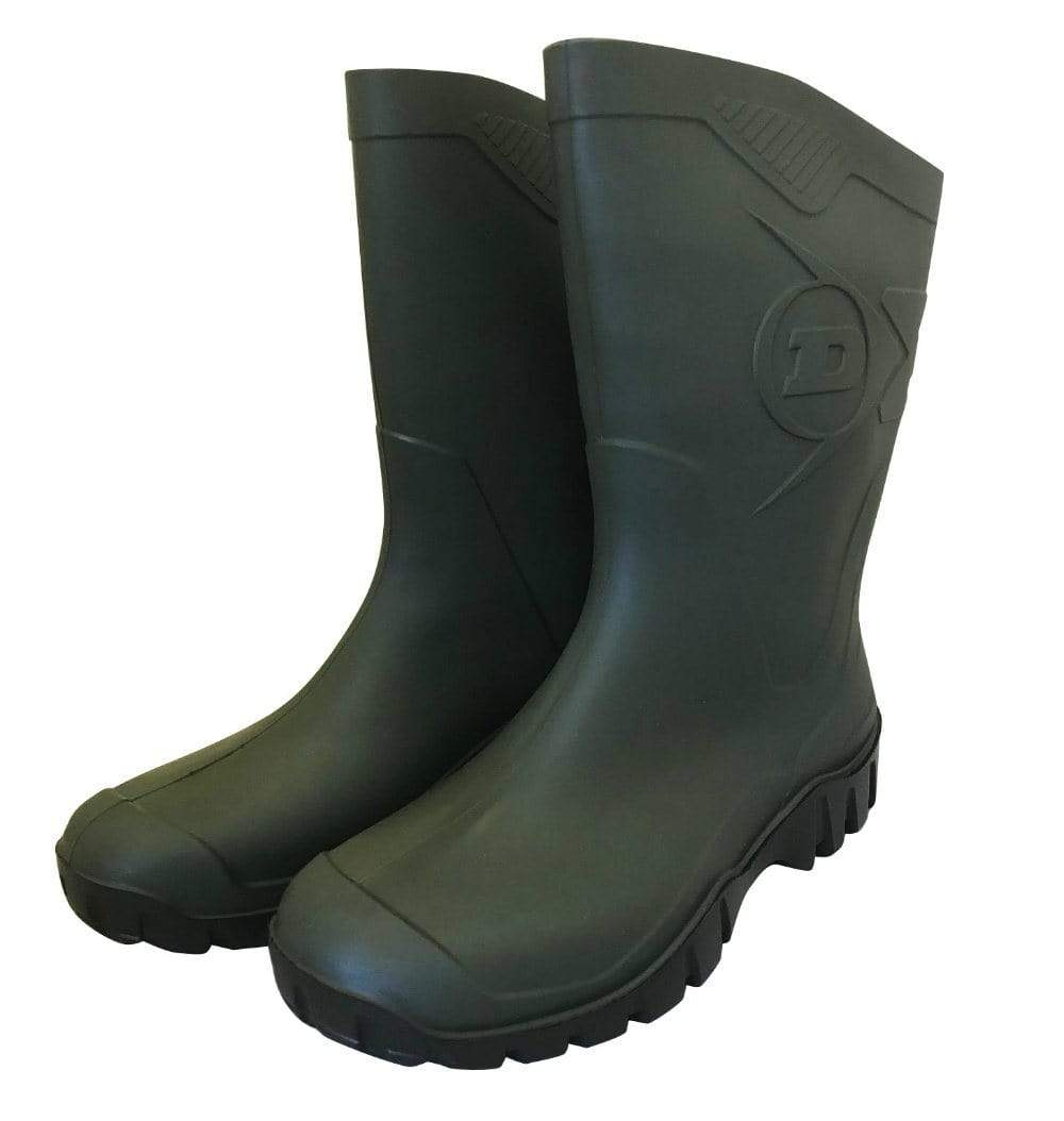 Half Boot Green Wellies by Dunlop - Wide Calf Wellies for Women