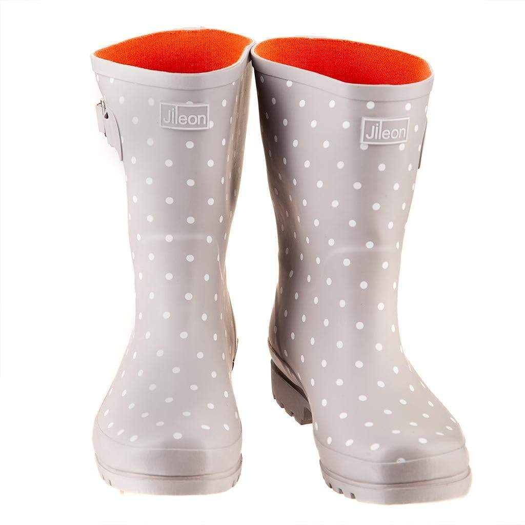 Half Boots - Grey and White Spots by Jileon - Wide Calf Wellies for Women