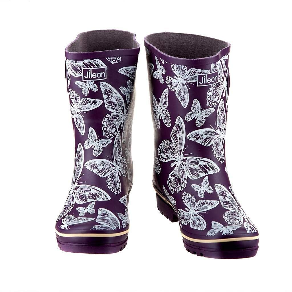 Half Boots - Purple Butterfly by Jileon - Wide Calf Wellies for Women