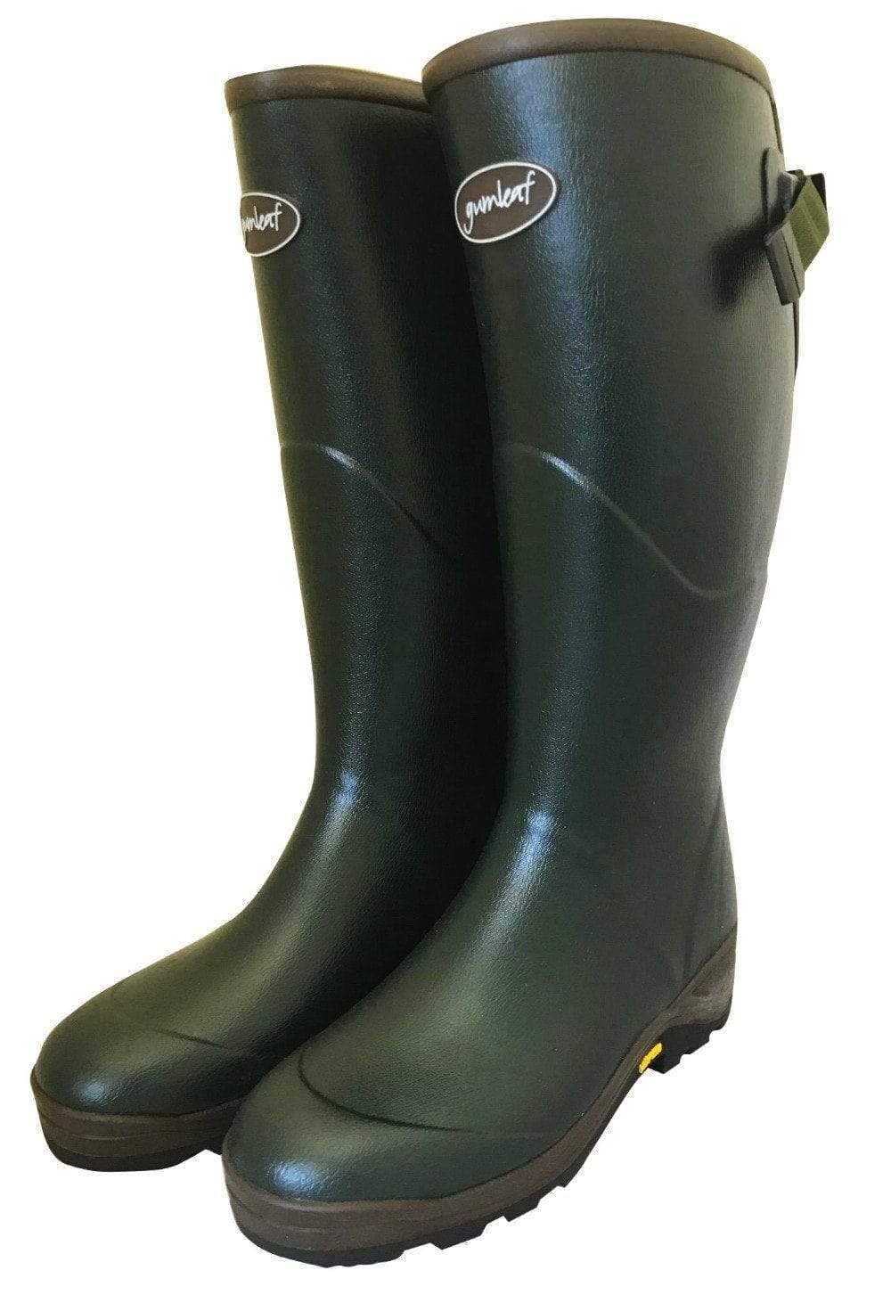 Hard Wearing Wide Fit Green Wellies by Gumleaf - Wide Calf Wellies for Women