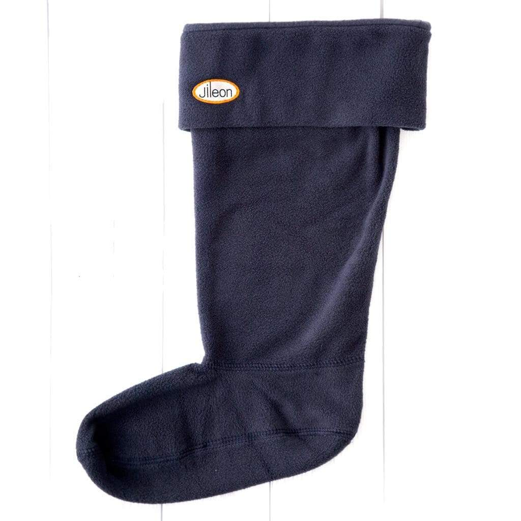 Navy / XL (9-11) Mens Welly Socks by Jileon - Wide Calf Wellies for Women