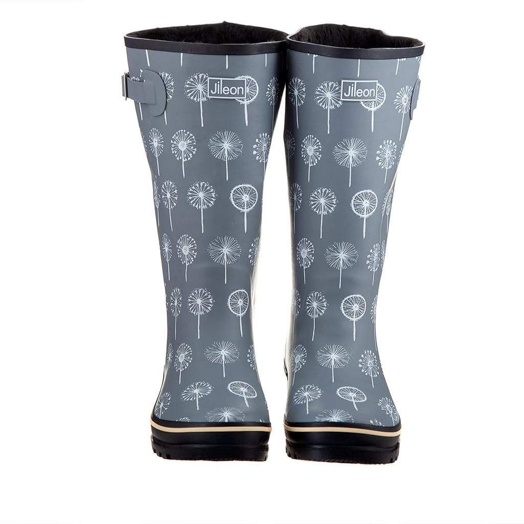 Wide Calf Wellies - Grey Dandelion Print by Jileon - Wide Calf Wellies for Women