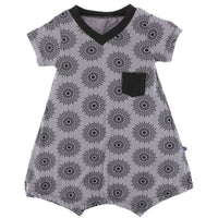 Grey Bamboo dress with black chest pocket and black mandala print | Saplingshop