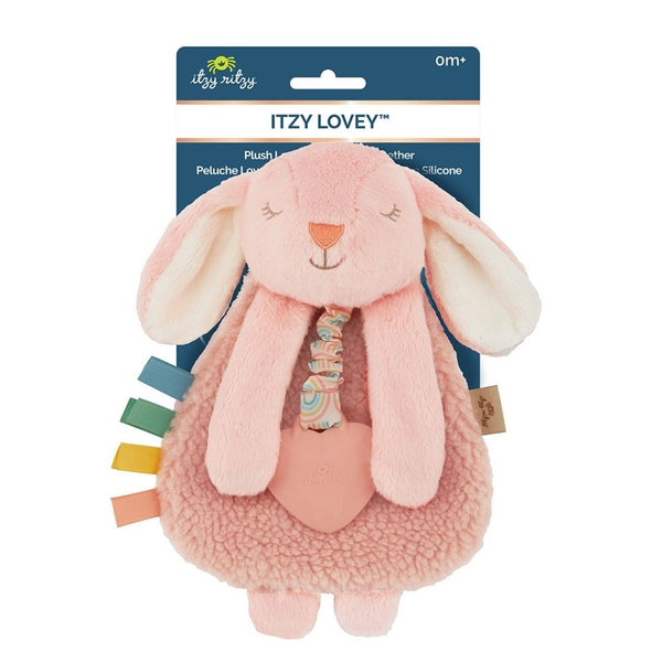 Itzy Soft Plush Lovey with Silicone Teether | Bunny