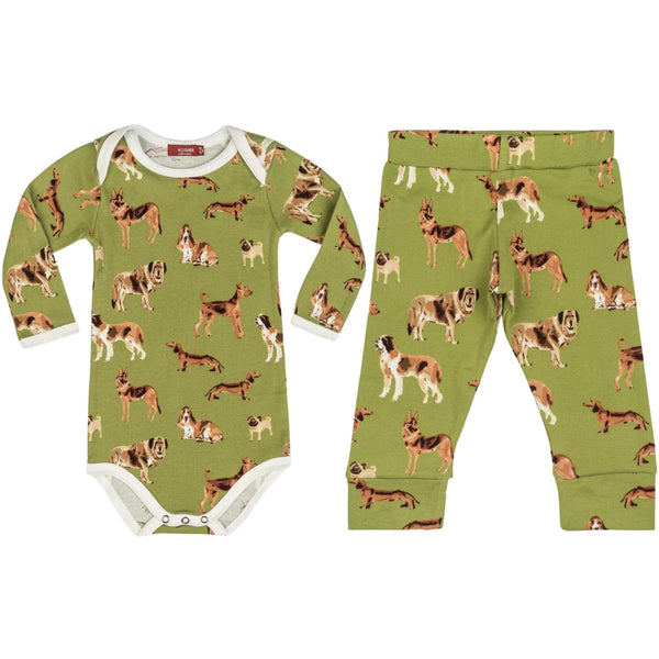 Milkbarn Long Sleeve One Piece and Legging Set | Green Dogs
