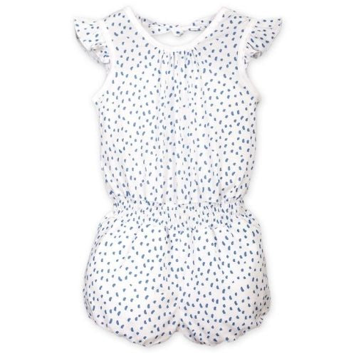 Feather Baby Tie Romper | Pintas Blue on White