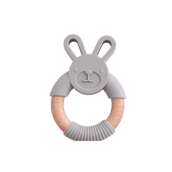 Bunny Silicone Beech Wood Teether | Gray, Aqua or Marble
