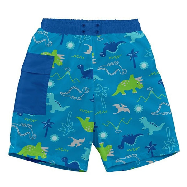 Aqua swim trunks with built in diaper, blue side pocket, and dino print in dark blue and green | saplingshop