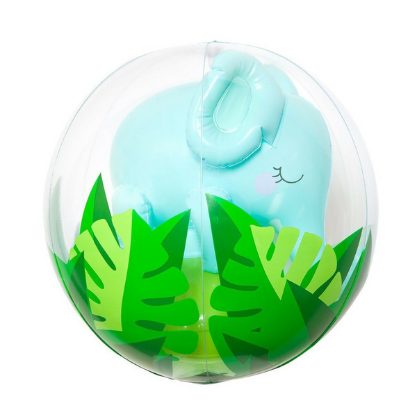 Clear beach ball with leaf decoration on the lower half revealing a light blue blown up elephant inside | SaplingShop
